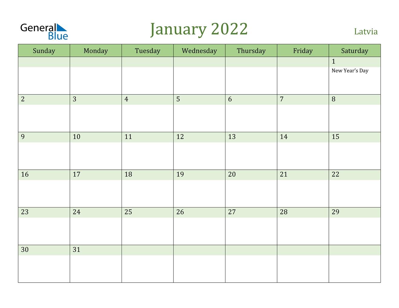 latvia january 2022 calendar with holidays::January 2022 calendar with holidays printable