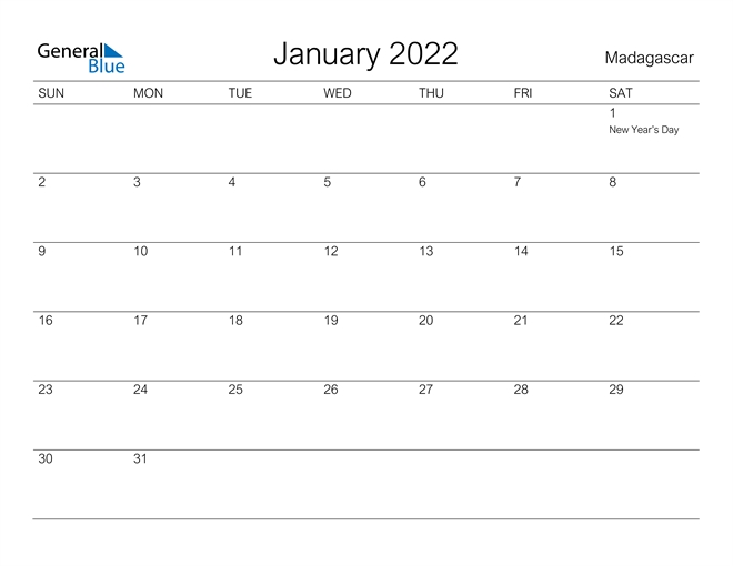 madagascar january 2022 calendar with holidays::January 2022 calendar with holidays printable