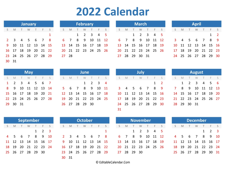 printable 2022 calendar landscape orientation::Download 2022 Printable Calendar