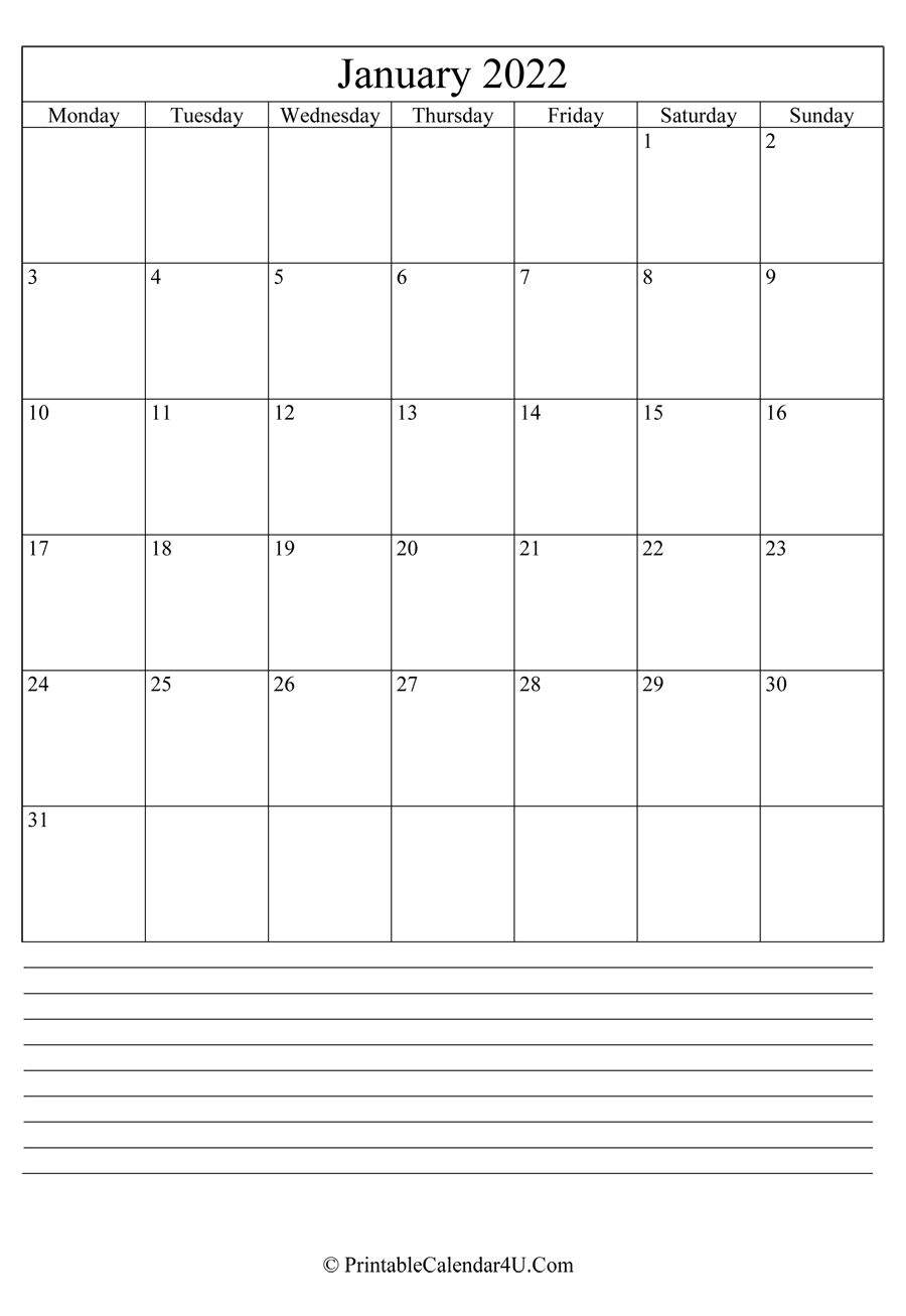 printable january calendar 2022 with notes portrait::January 2022 calendar with holidays printable