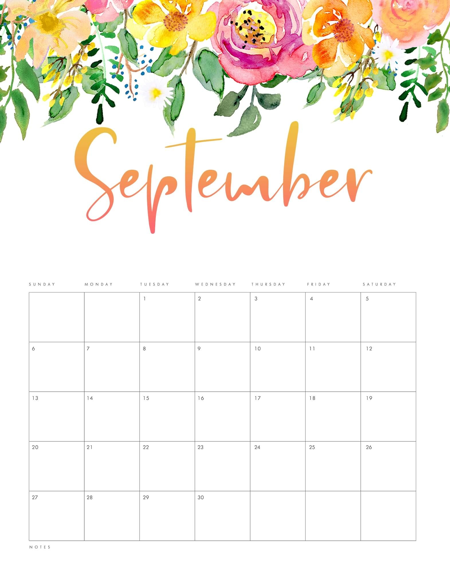 printable september 2022 calendar pdf ::September 2022 Cute Calendar Free