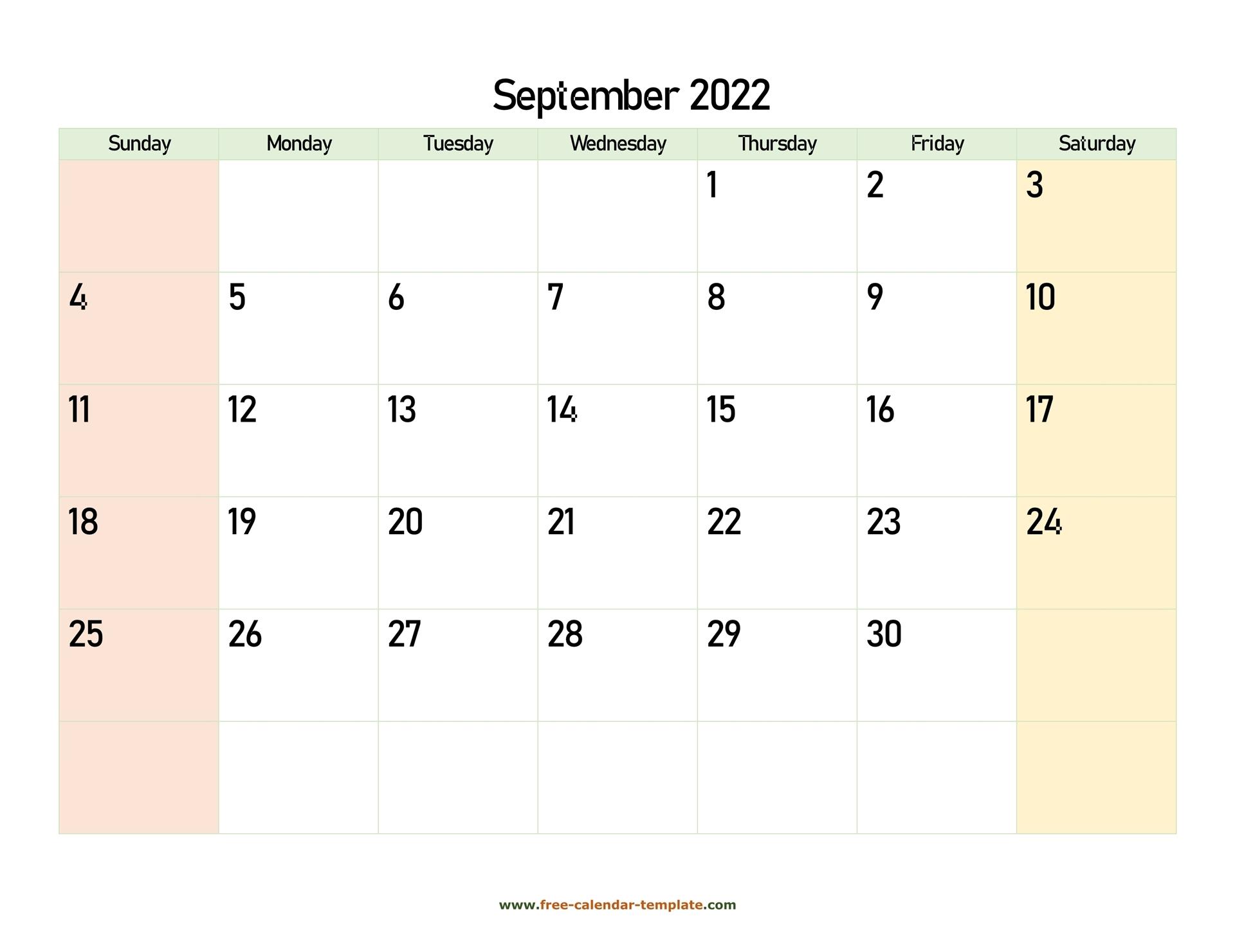 september 2022 free calendar tempplate free calendar template::September 2022 Cute Calendar Free