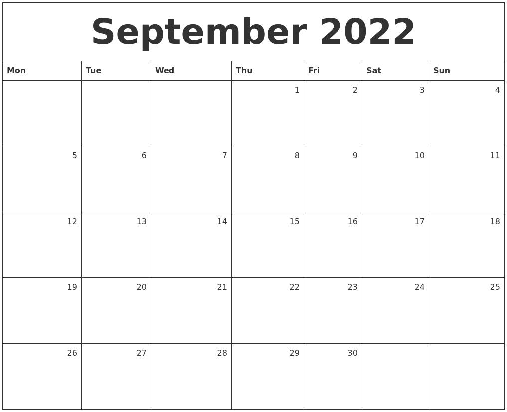 September 2022 Cute Calendar Free