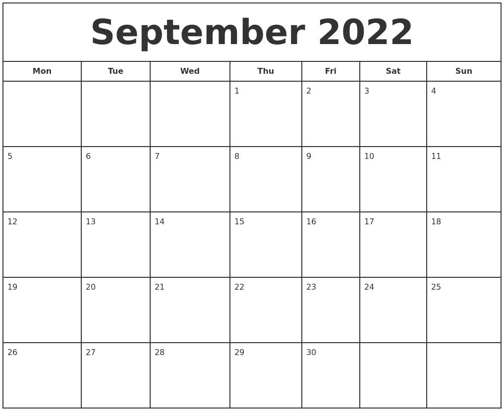 september 2022 print free calendar::September 2022 Cute Calendar Free