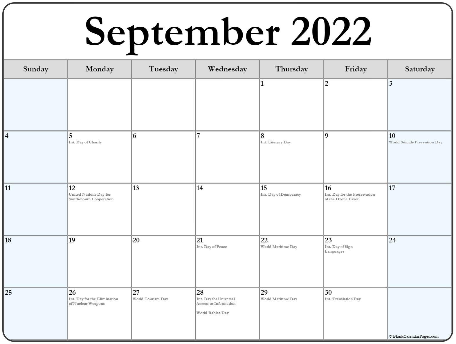 september 2022 with holidays calendar::September 2022 Cute Calendar Free