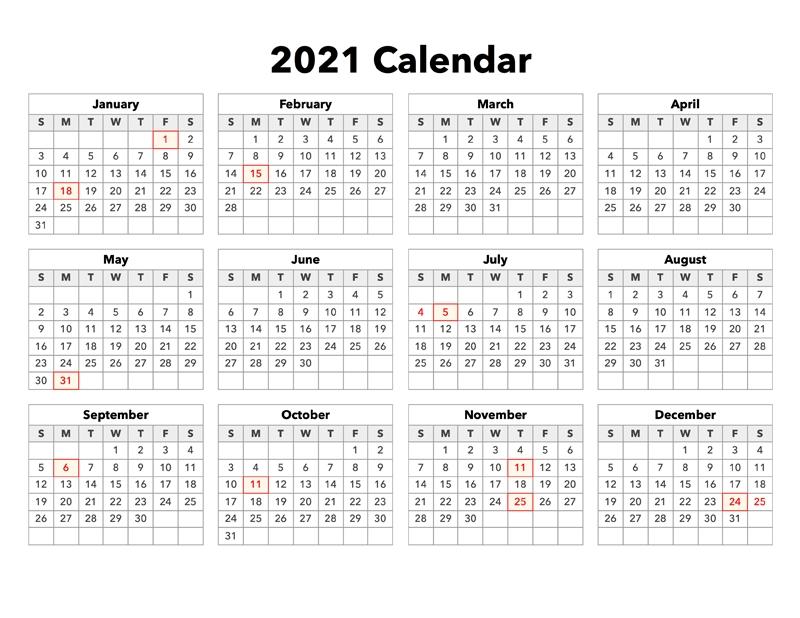 2021 calendar with holidays united states calendar options::Downloadable 2021 Calendar with Holidays