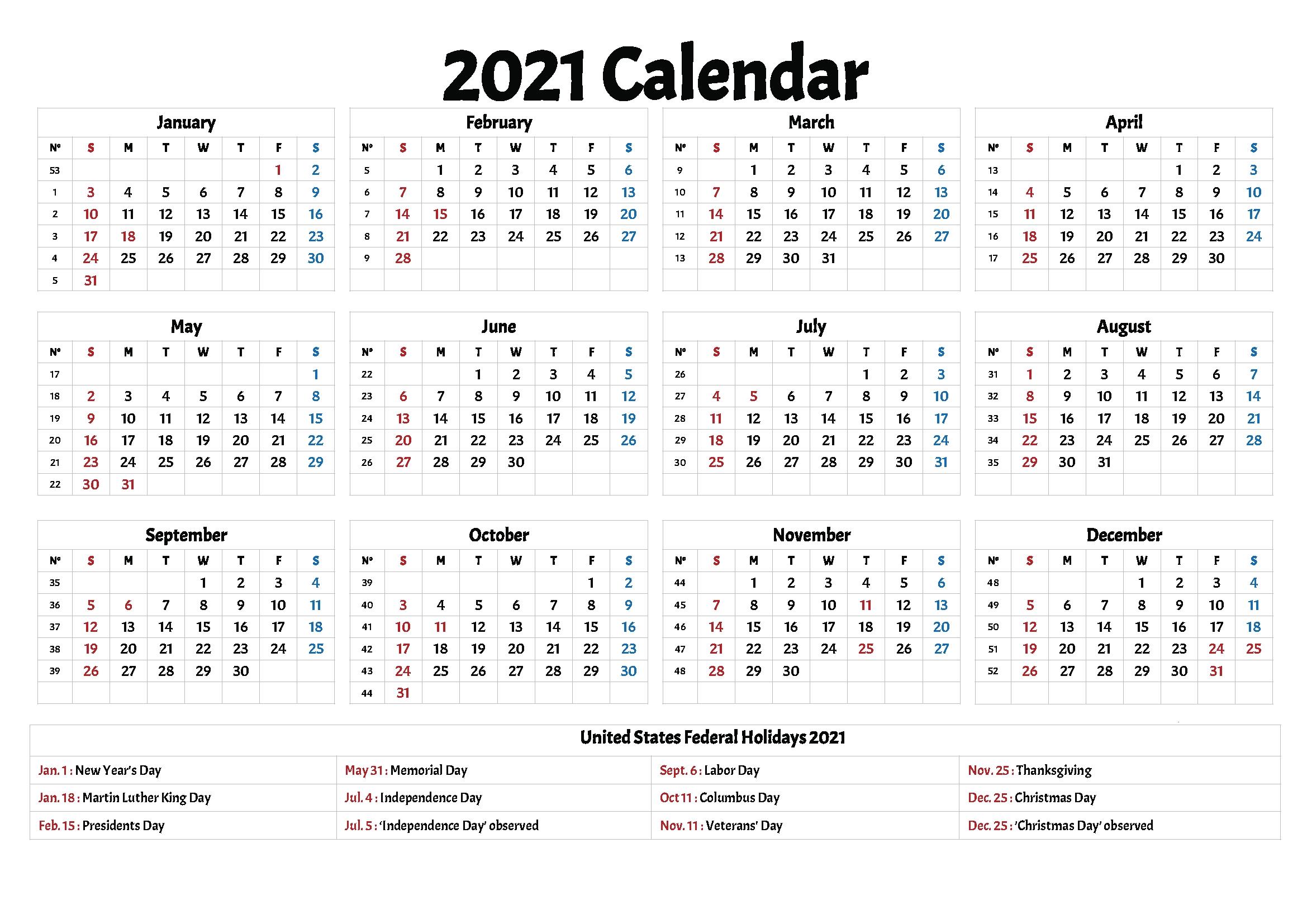 2021 calendars with holidays printable printable calendar::Downloadable 2021 Calendar with Holidays