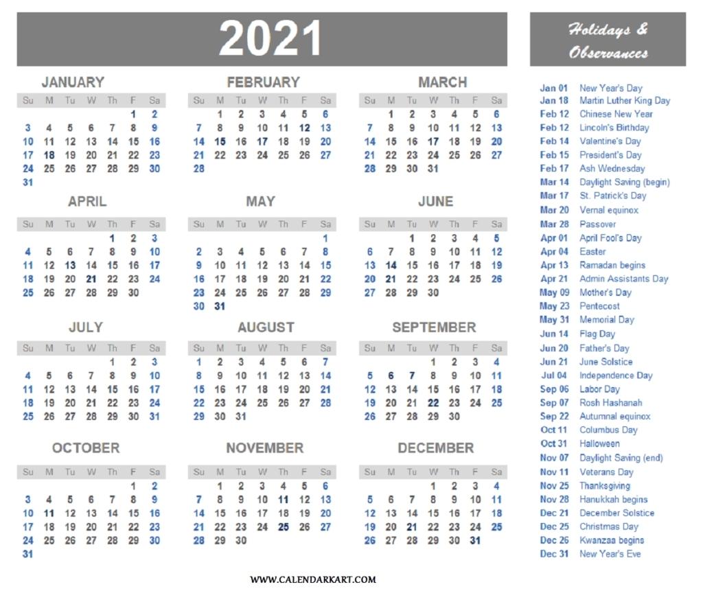 2021 us holidays printable list calendar template printable::Downloadable 2021 Calendar with Holidays
