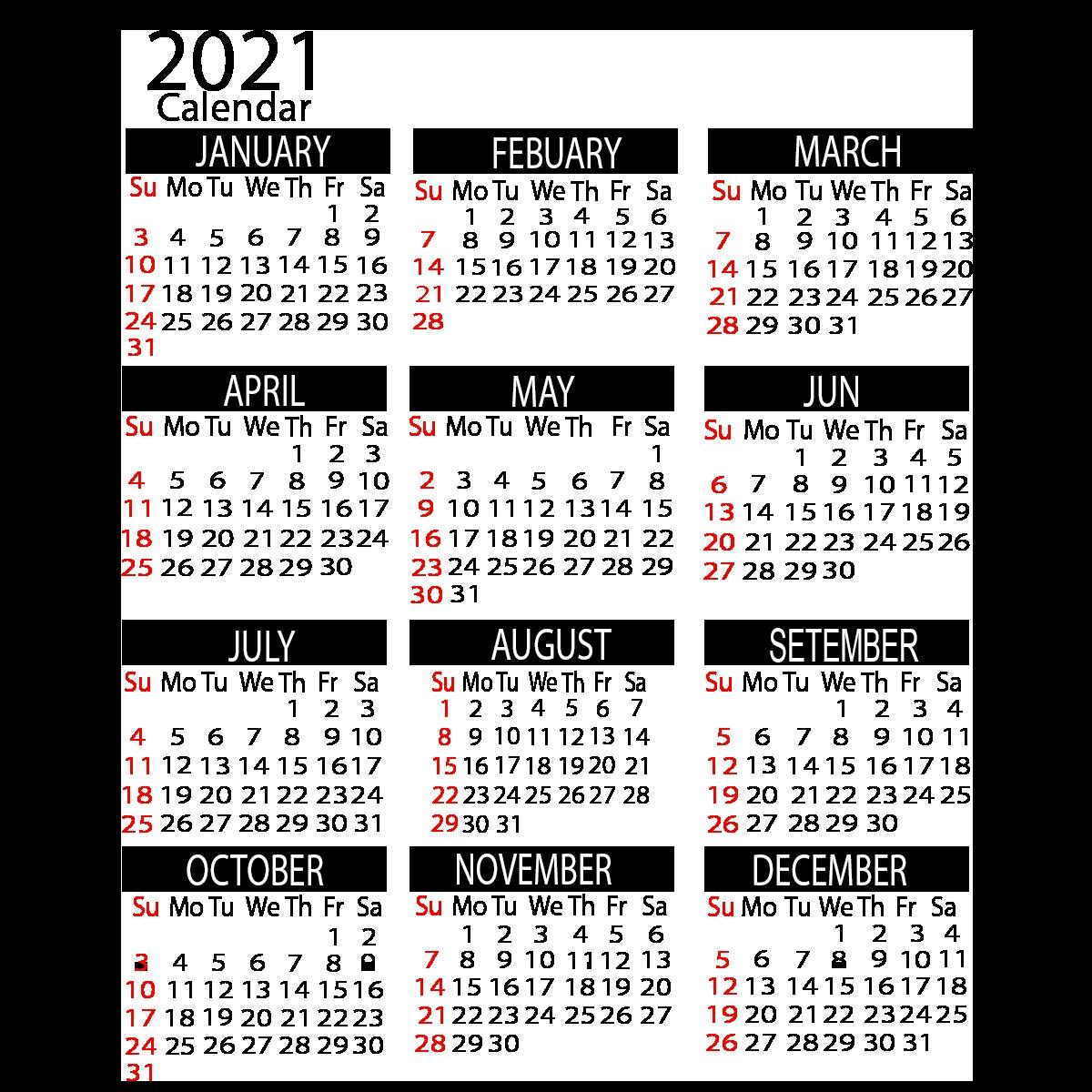 2021 yearly calendar printable calendar ::Downloadable 2021 Calendar with Holidays