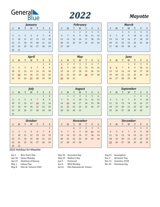 2022 calendar mayotte with holidays::Calendar 2022