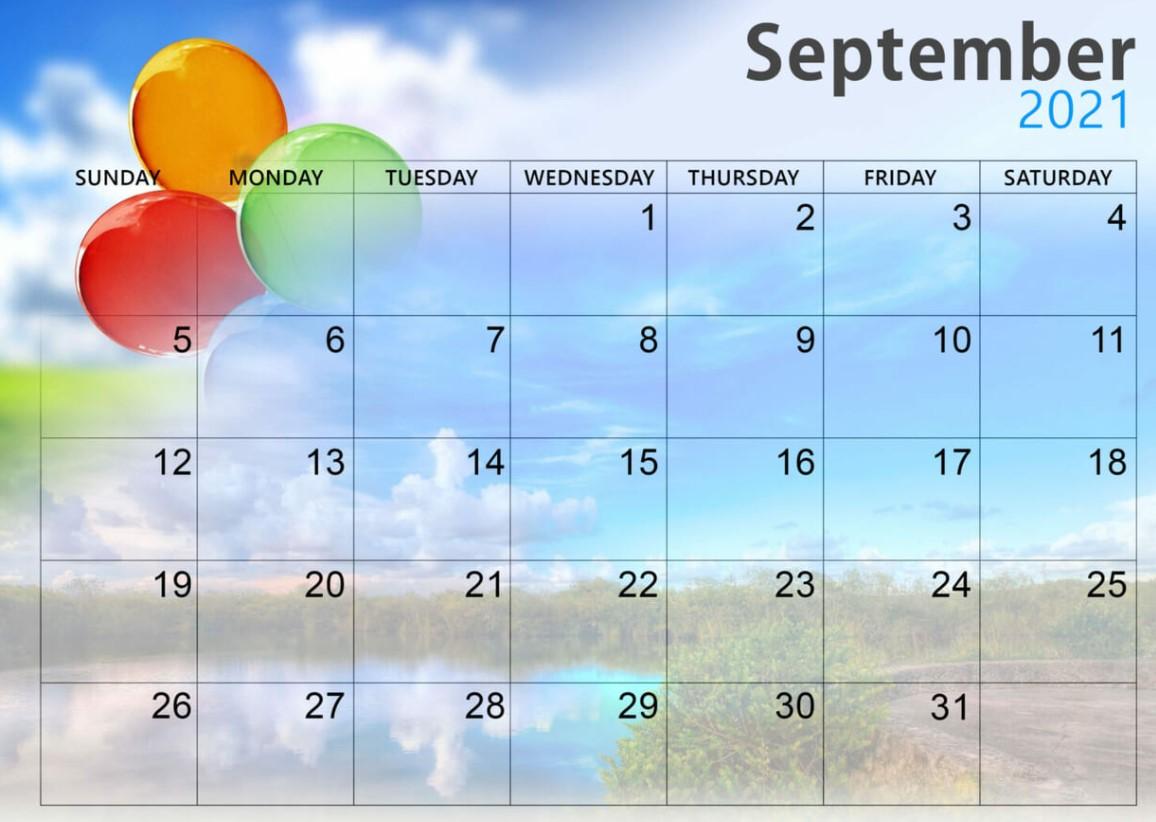 September 2021 Calendar Printable Cute Baloon