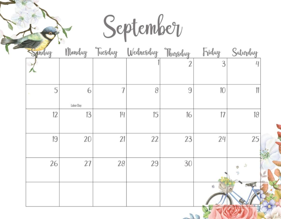 September 2021 Calendar Printable Cute Bird