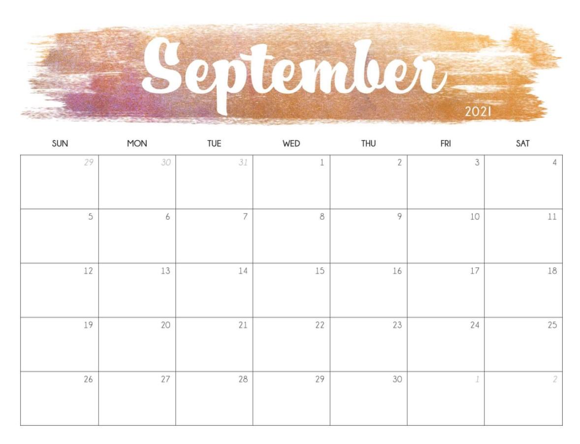September 2021 Calendar Printable Cute Brown