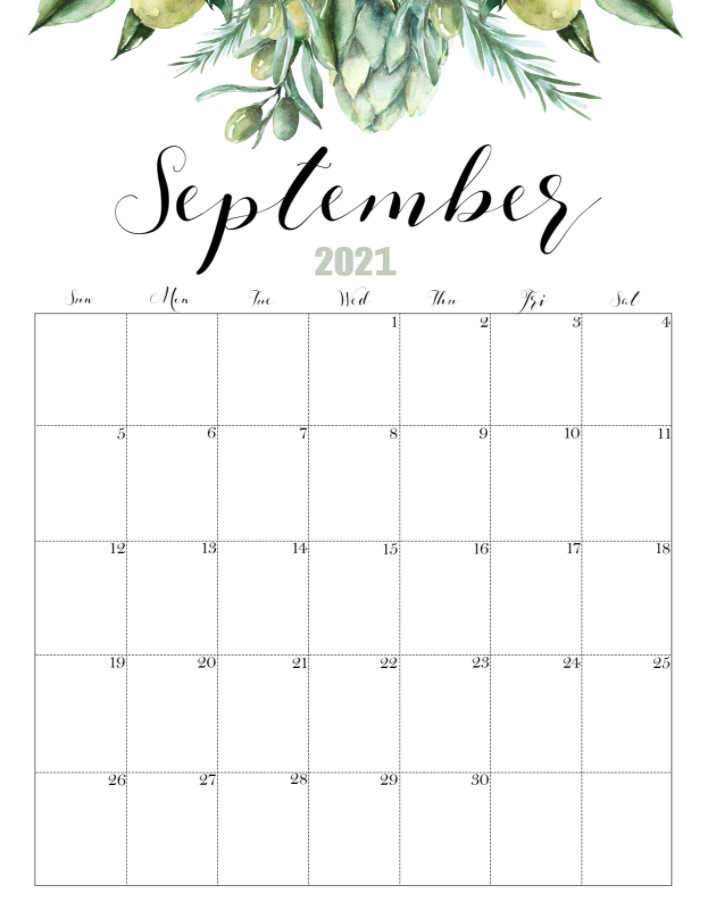 September 2021 Calendar Printable Cute FLoral