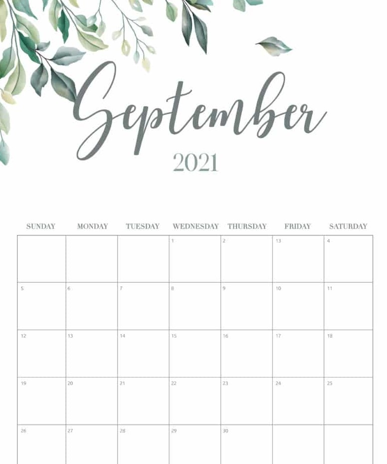 September 2021 Calendar Printable Cute Flower