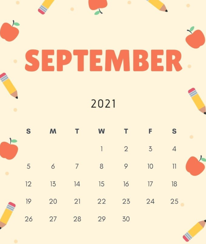 September 2021 Calendar Printable Cute Fruits