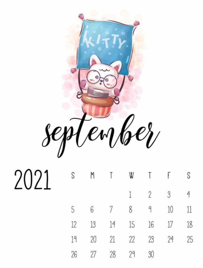 September 2021 Calendar Printable Cute Kitty