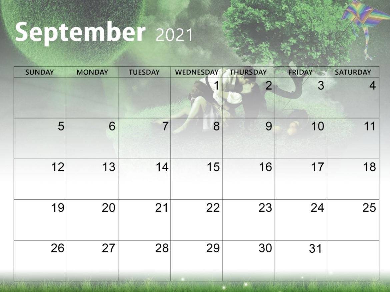 September 2021 Calendar Printable Cute Nature