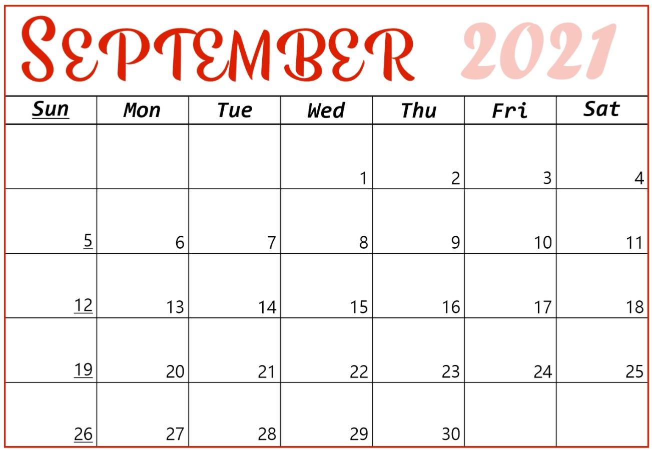 September 2021 Calendar Printable Cute