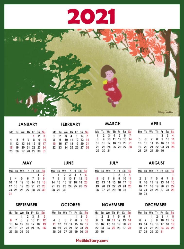 calendar 2021 printable with us holidays monday start matildastory::Downloadable 2021 Calendar with Holidays
