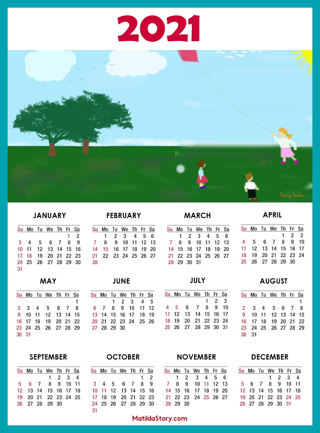 calendar 2021 printable with us holidays sunday start matildastory::Downloadable 2021 Calendar with Holidays