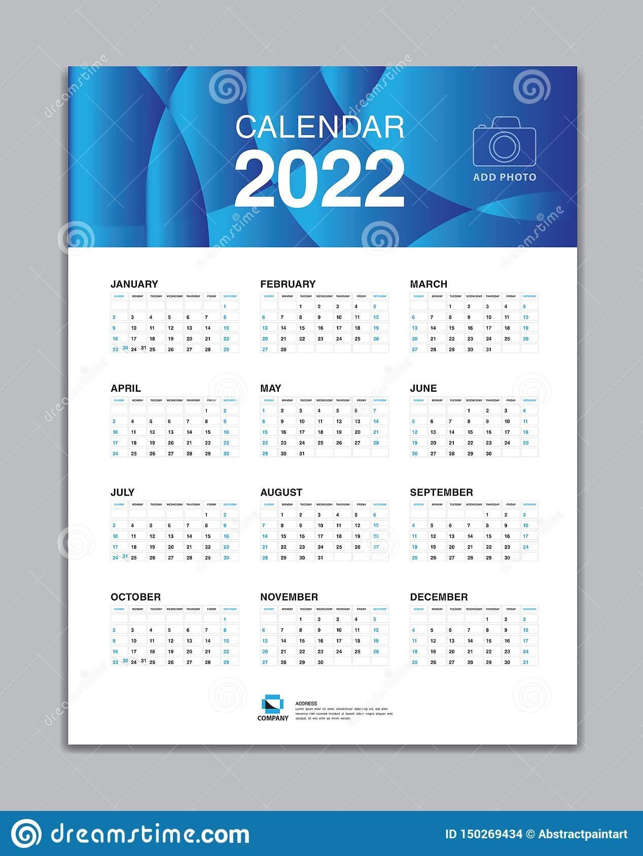 calendar 2022 template wall vector desk design stock vector::Calendar 2022