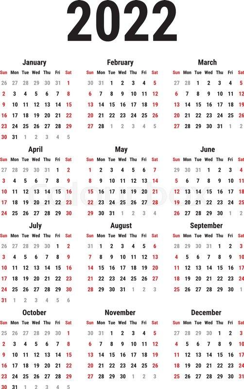 calendar for 2022 year on white stock vector colourbox::Calendar 2022