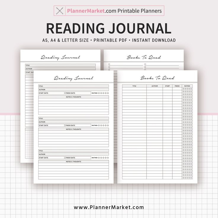 reading journal books to read a5 a4 letter size printable planner planner design planner::Planner Book Printing