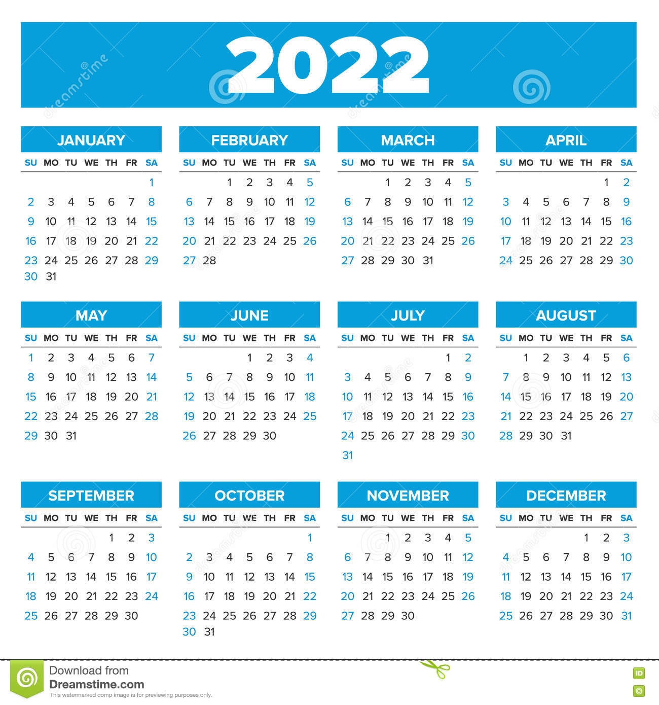 simple 2022 year calendar stock vector illustration::Calendar 2022