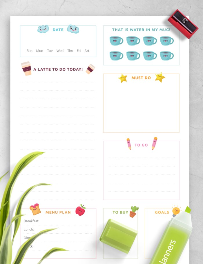 Cute Daily Planner Menu Plan For You