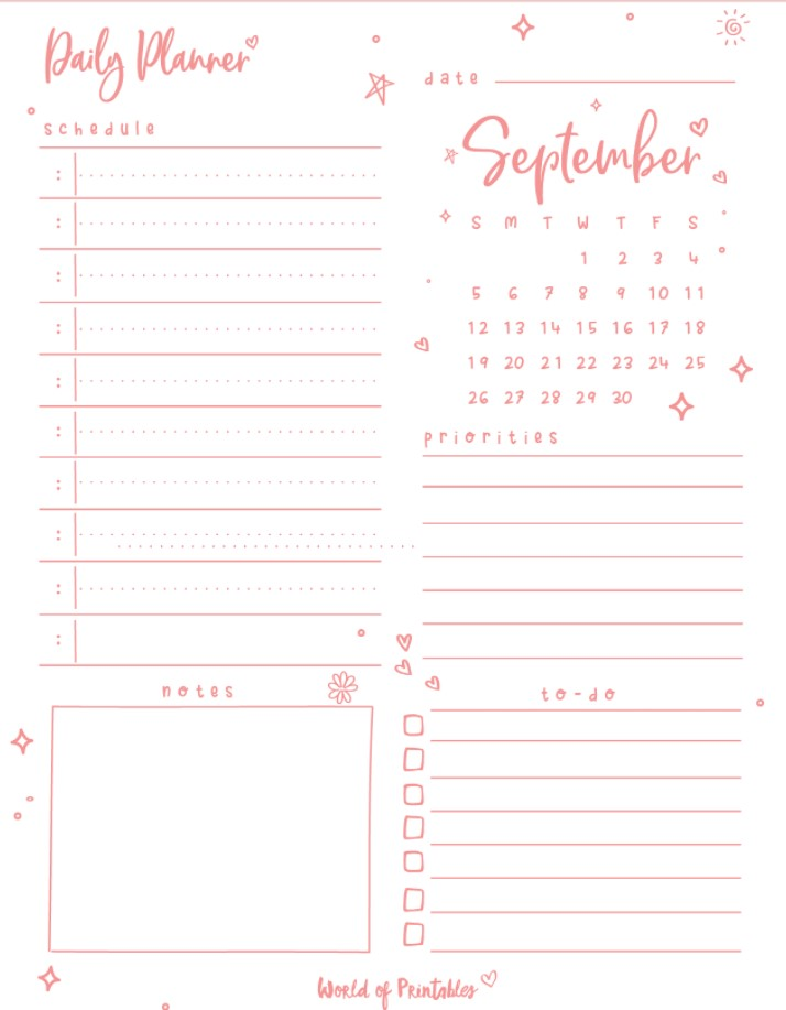 Cute Daily Planners September Pink Color
