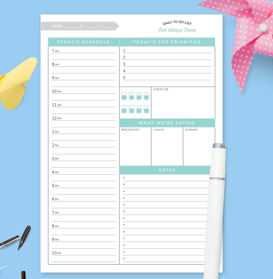 Cute Daily To Do List Priorities Excercise