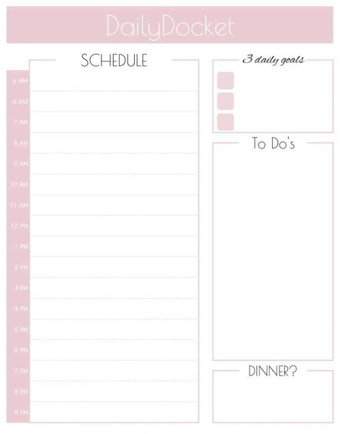 Cute Planner Daily Docket Schedule 3 Days Goals