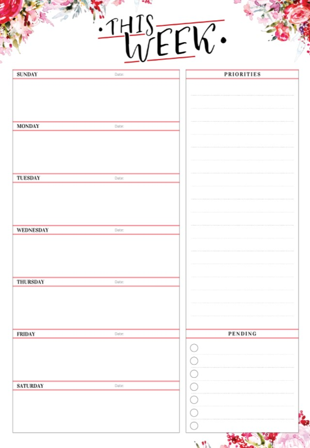 Cute Weekly Planners Red Color