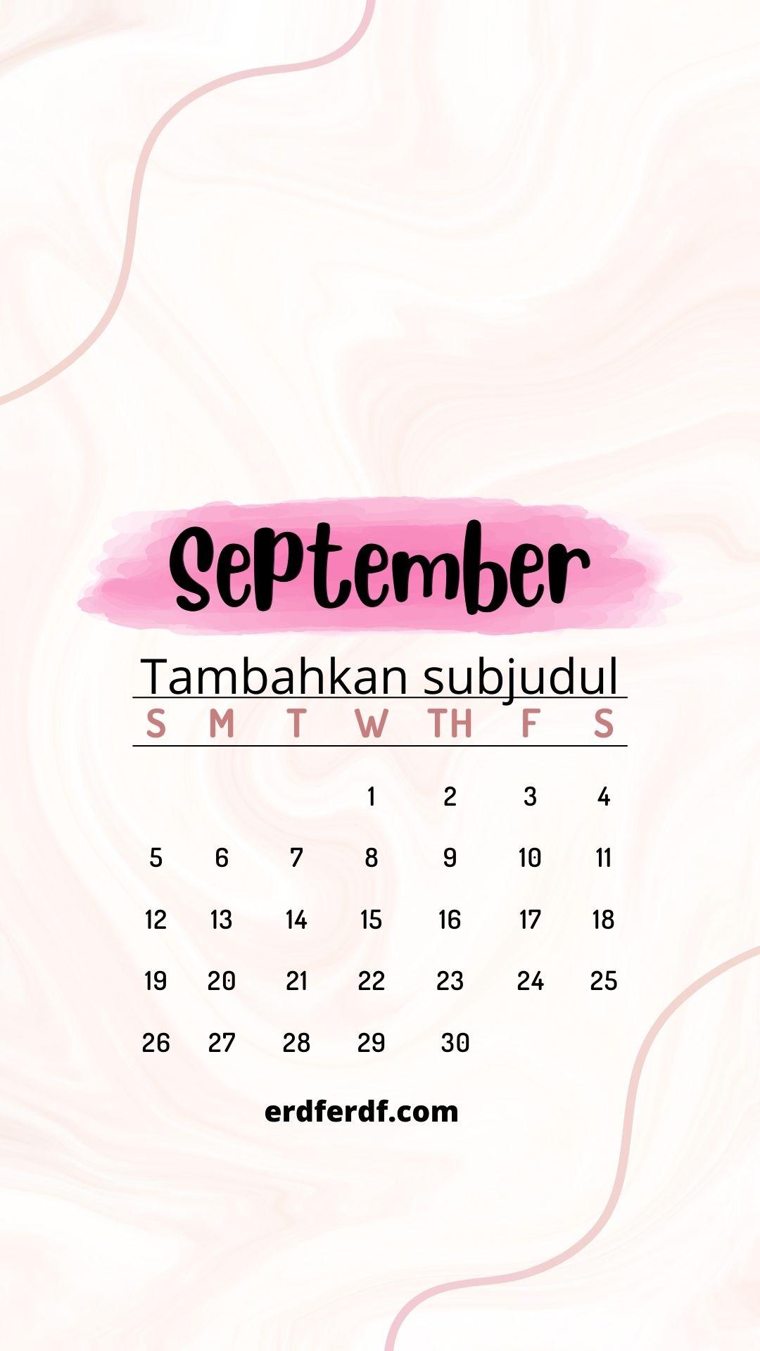 Wallpaper Calendar Iphone 13 September Cute
