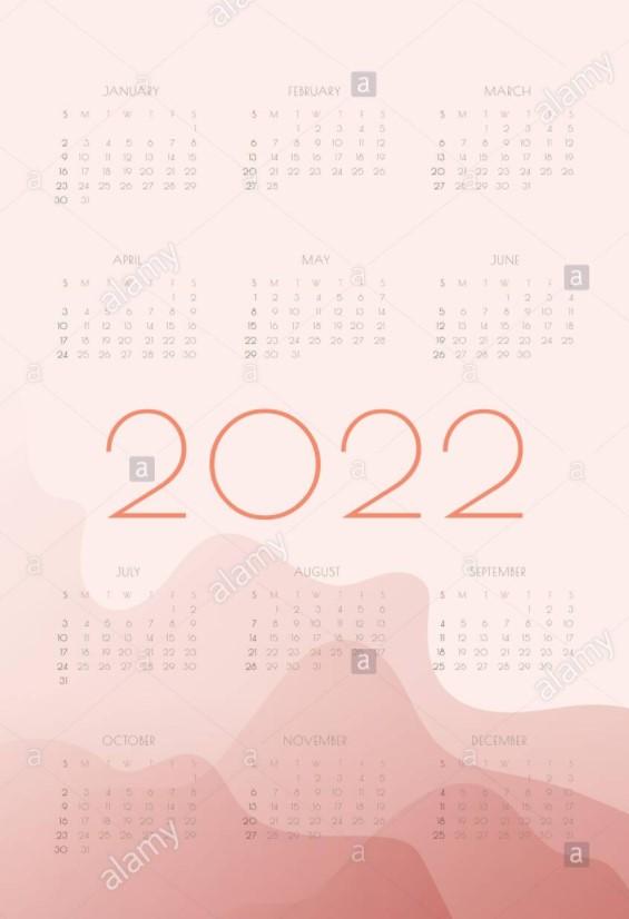 Free Yearly Calendar 2022 Big