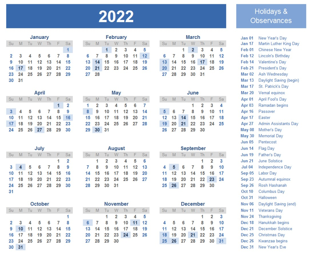 One Page Big Calendar 2022 With Holidays